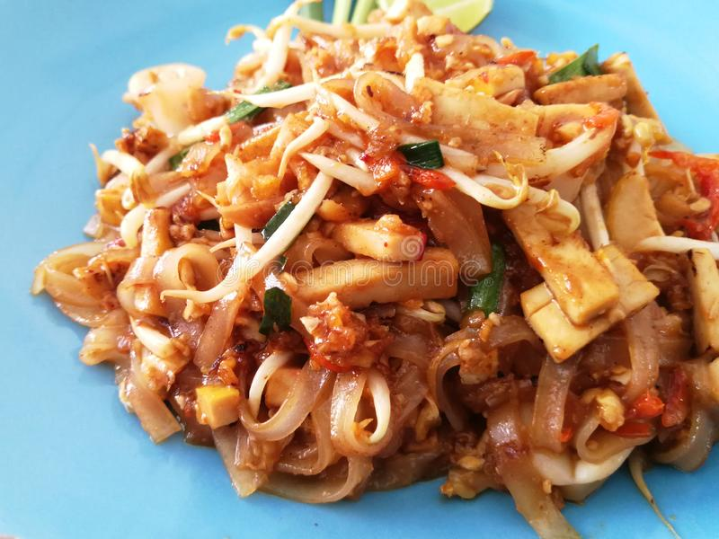 Pad thai noodles close-up on the table. Top view Thailand stock photos