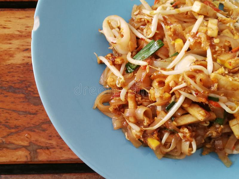 Pad thai noodles close-up on the table. Top view Thailand stock photo