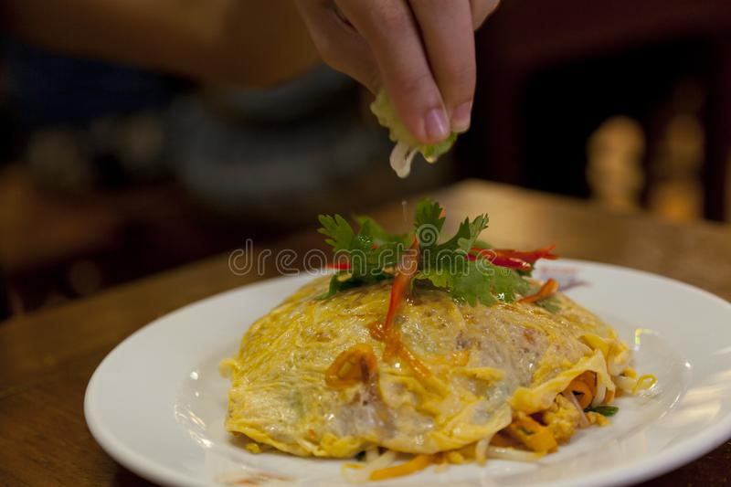 Pad Thai Noodles On White Plate royalty free stock image