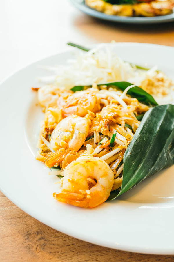 Pad thai noodles. With prawn in white plate - Color Filter Processing royalty free stock photo