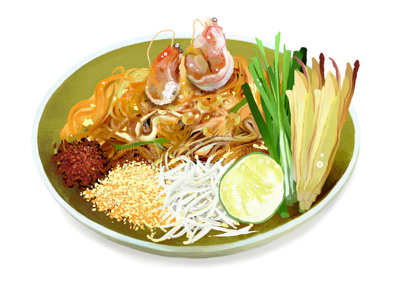 Pad Thai Noodles with Shrimps. Pad Thai is a Dish of Stir Fried Rice Noodles with Eggs, Shrimps and Peanuts is a Famous Thai Cuisine royalty free stock photo
