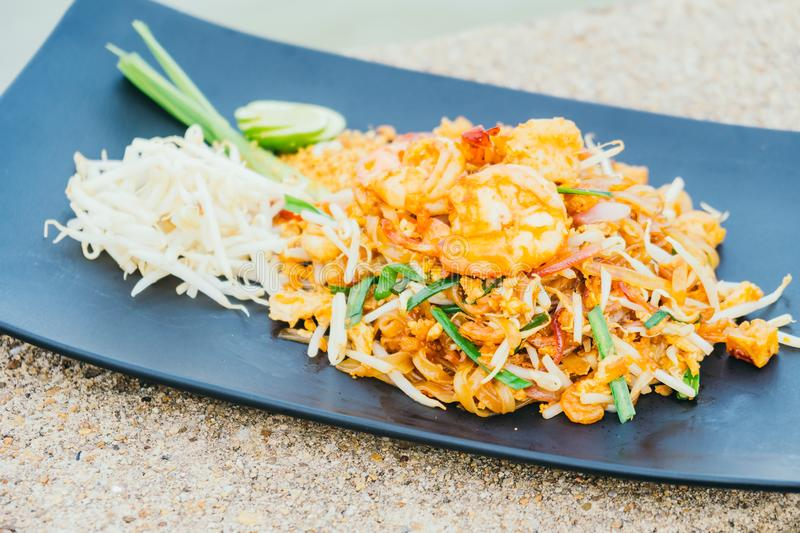 Pad thai noodles. Stir fried noodles with prawn and shrimp in plate or Pad Thai stock images