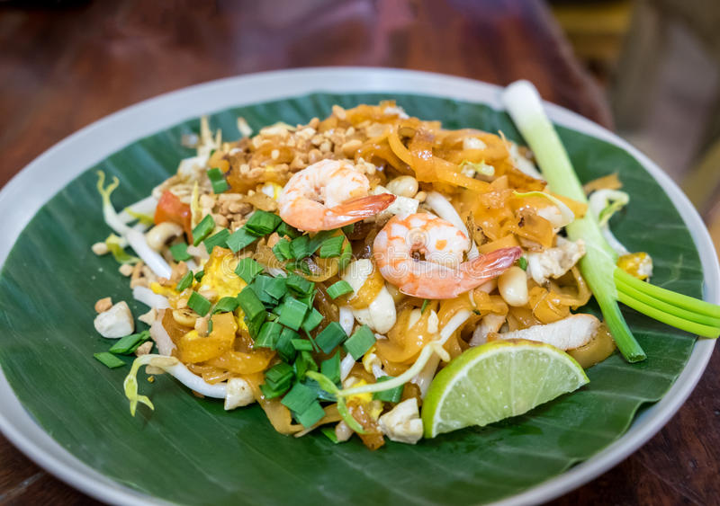 Pad thai,Phat thai,is a stir-fried rice noodle dish commonly served a street food popular and at casual local eateries stock photo