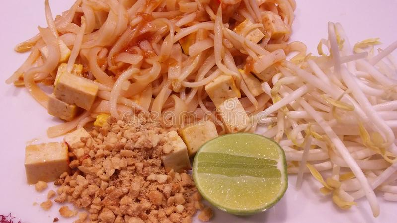 Pad Thai on Plate in Restaurant in Bangkok, Thailand. Pad Thai on Plate in Restaurant in Bangkok in Thailand stock photography
