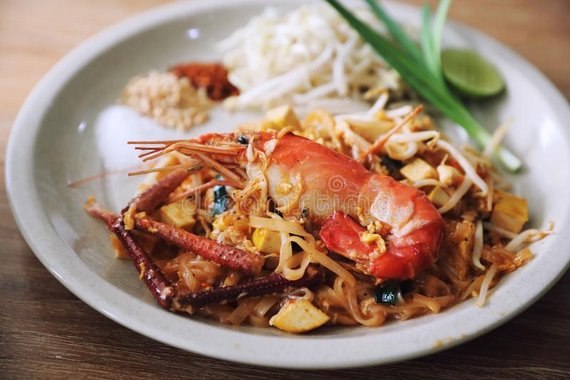 Pad thai , Stir fry noodles and shrimp in thai style thai traditional food royalty free stock images