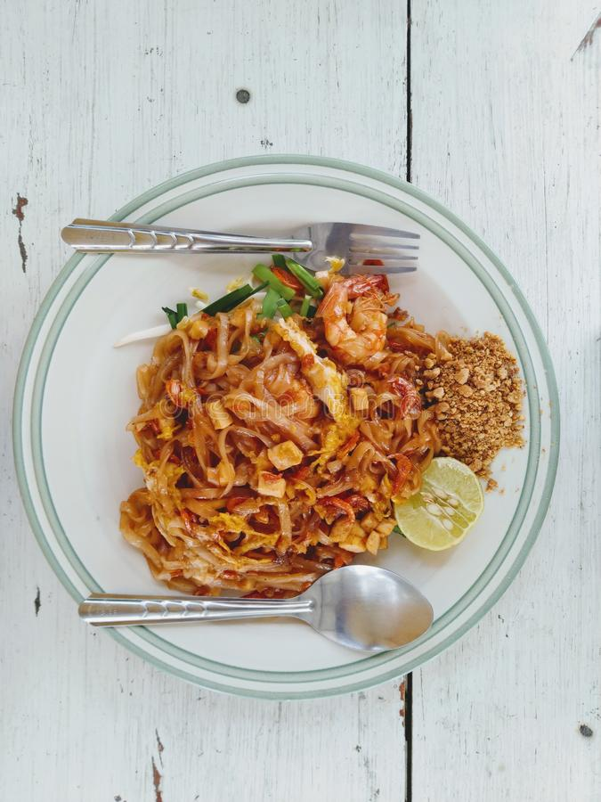 Pad Thai in a plate on the table royalty free stock photos