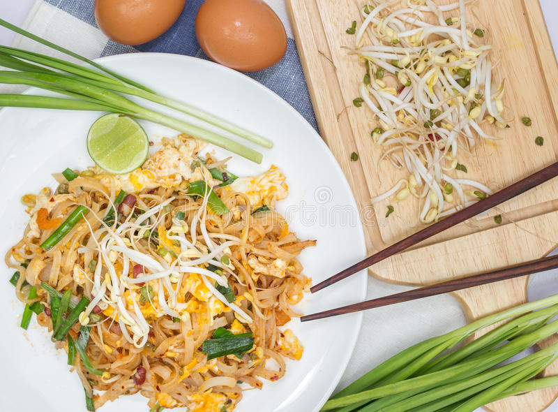 Pad Thai. Seafood pad Thai dish of fried rice noodles stock images