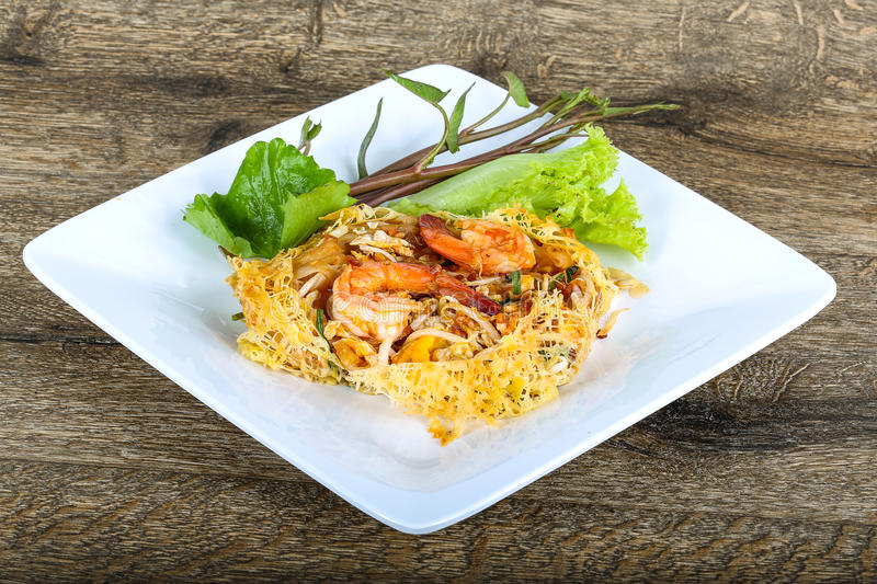 Pad Thai. With shrimp, herbs and spices royalty free stock photography