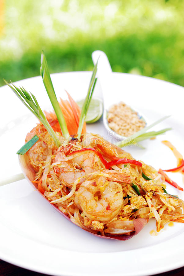 Pad Thai. With shrimp, popular Thai style noodle, selective focus royalty free stock photos