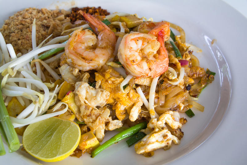 Pad Thai with Shrimps. (Thai Traditional Food) on white plate stock images