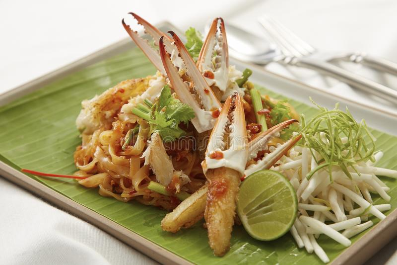 Pad Thai, stir fried noodle with crab meat royalty free stock photo