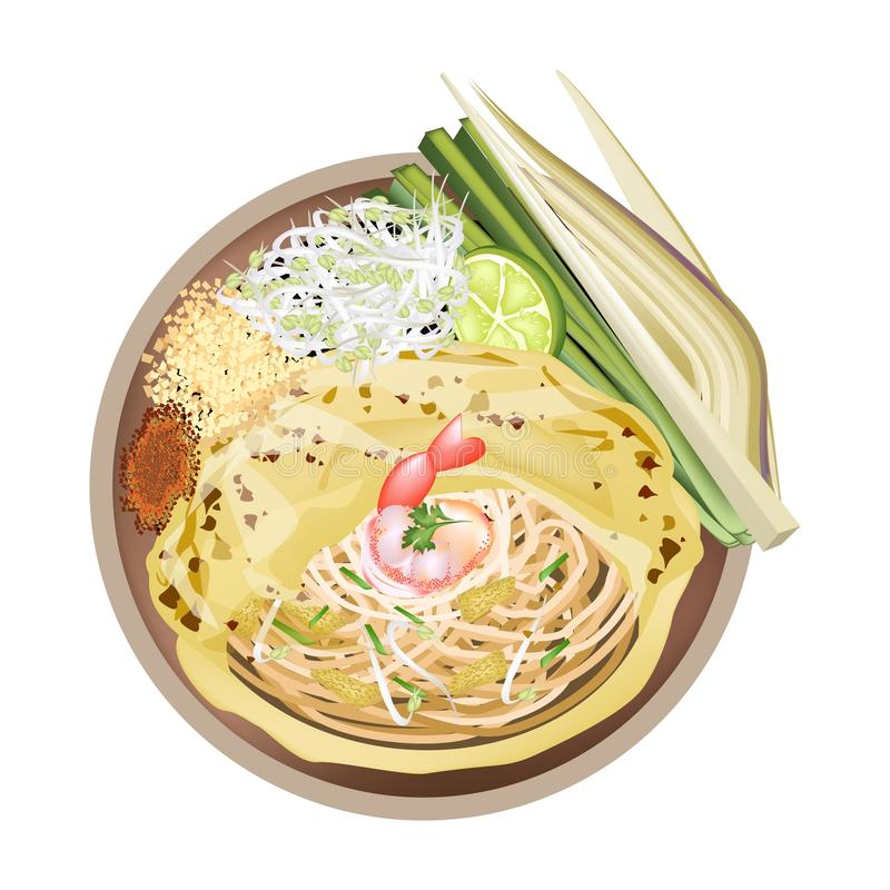 Pad Thai or Stir Fried Noodles Wrapped with Omelet. Thai Cuisine, Pad Thai or Thai Traditional Stir Fried Noodles Wrapped with Omelet. One of The Most Popular vector illustration