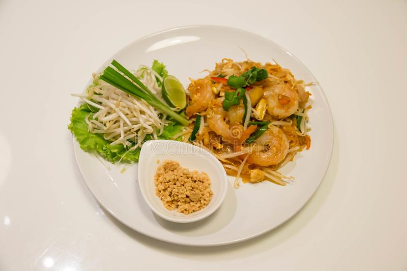 Pad Thai Stir-Fried Rice Noodle with Shrimp. Thai style fried noodle royalty free stock photography