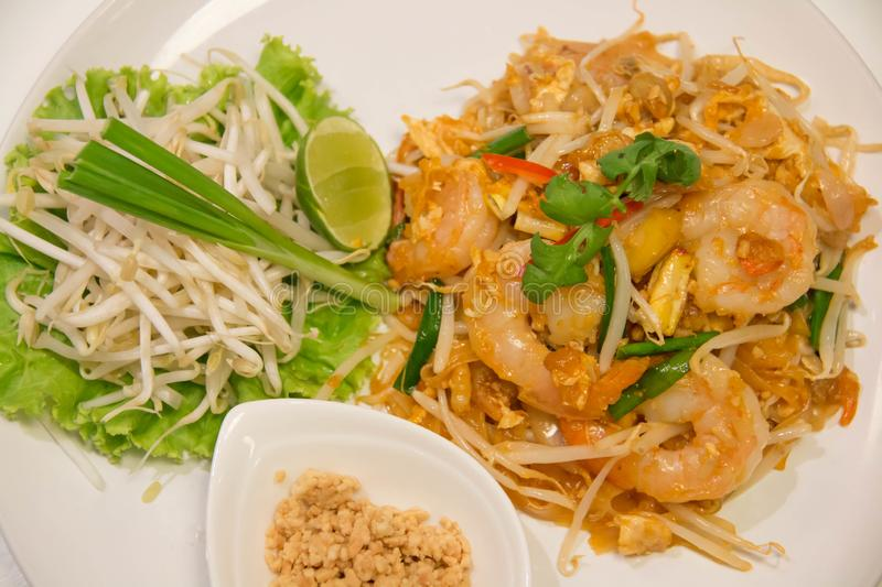 Pad Thai Stir-Fried Rice Noodle with Shrimp. Thai style fried noodle stock photography