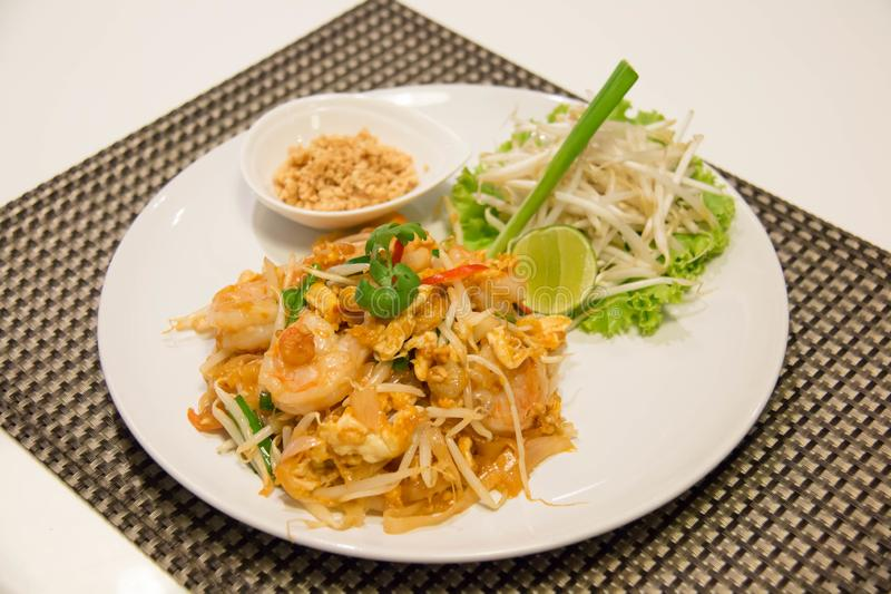 Pad Thai Stir-Fried Rice Noodle with Shrimp. Thai style fried noodle royalty free stock photo