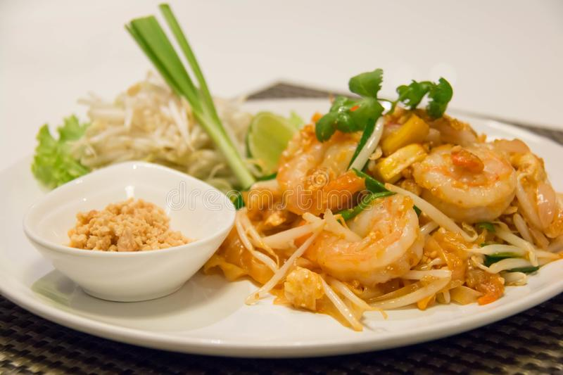 Pad Thai Stir-Fried Rice Noodle with Shrimp. Thai style fried noodle royalty free stock images