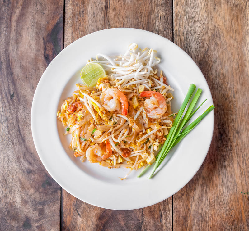 Pad Thai, stir-fried rice noodles. Is one of Thailand's national main dish royalty free stock photography