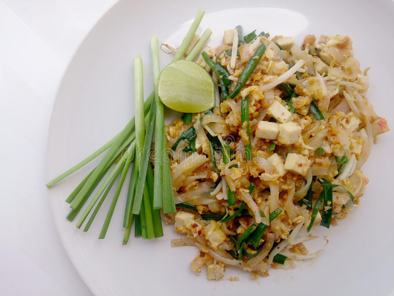 Pad Thai, stir-fried rice noodles with tofu. The one of Thailand's national main dish. royalty free stock image