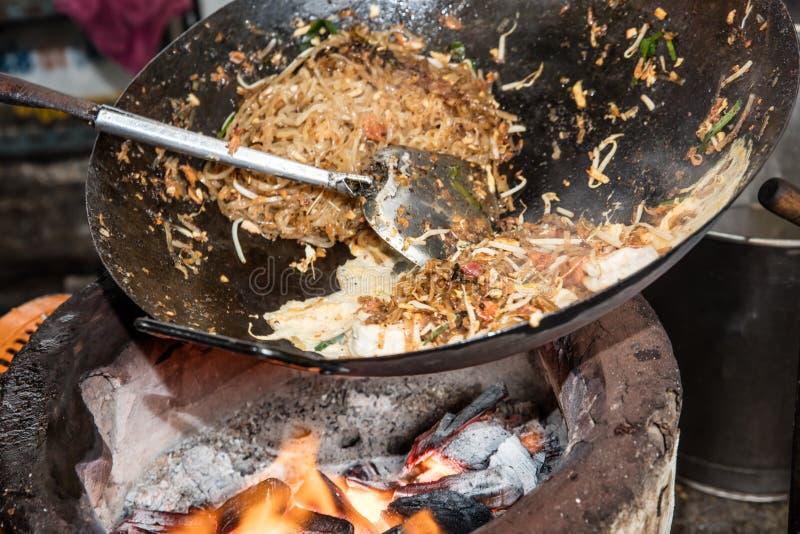 Pad Thai stir fried in a street market. In Bangkok stock photo