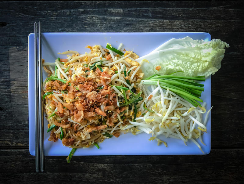 Pad thai or the thai style noodle. Top view royalty free stock photography