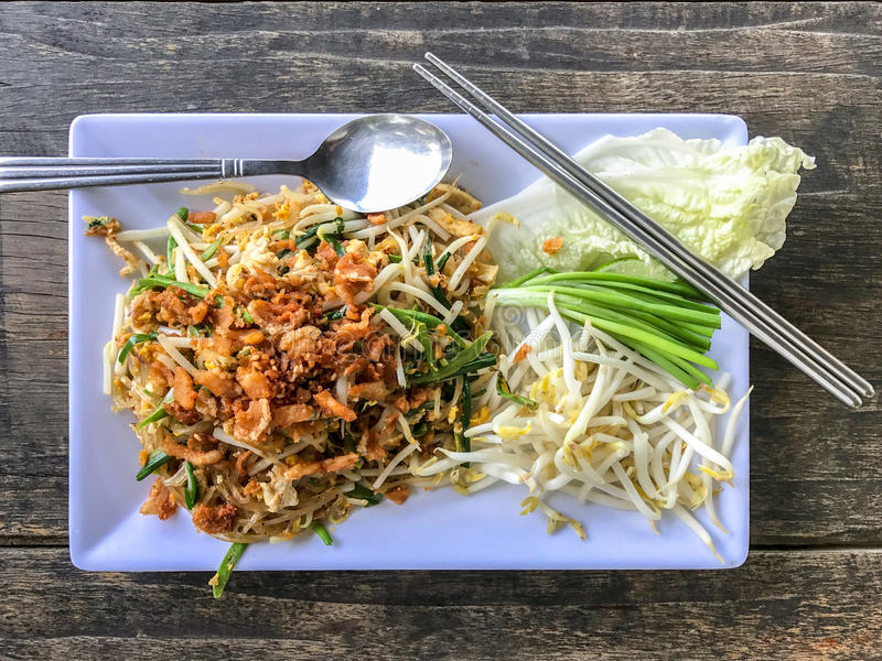 Pad thai or the thai style noodle. Top view stock images