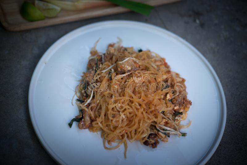 `Pad Thai` Thailand food delicious taste. The popular food in Thailand. Thai Fried Noodles royalty free stock photo