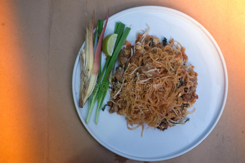 `Pad Thai` Thailand food delicious taste. The popular food in Thailand. Thai Fried Noodles royalty free stock photos