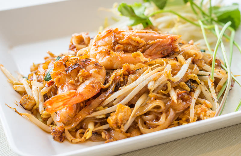 Pad Thai. Thailand's national dishes, stir-fried noodles with egg, vegetable and shrimp (Pad Thai royalty free stock photo