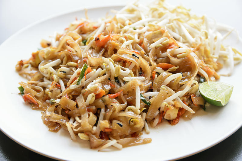 Pad Thai. Thailand's national dishes, stir-fried noodles with egg, vegetable and shrimp (Pad Thai royalty free stock photography