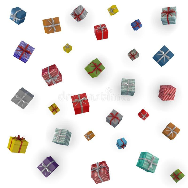 Padać kolorowych prezentów pudełka zdjęcie stock