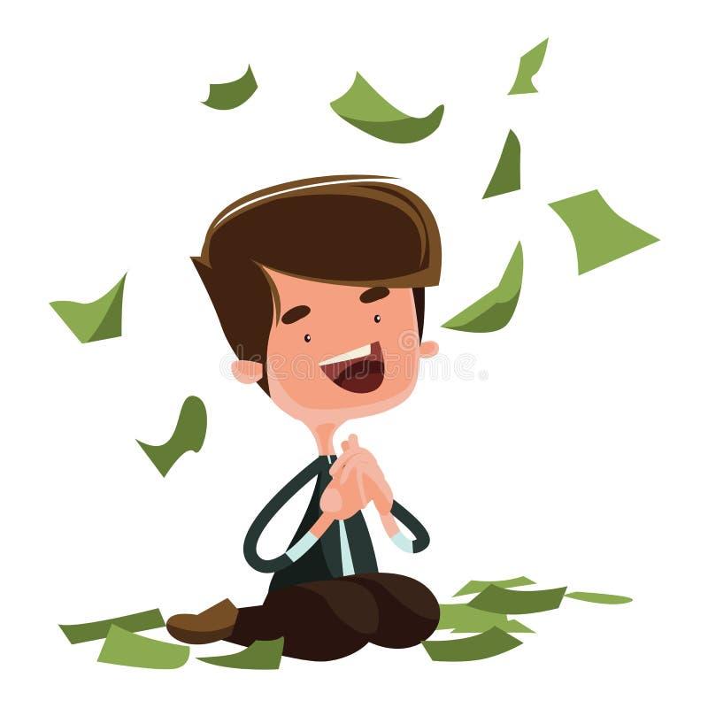 Padać pieniądze szczęśliwego mężczyzna siedzącego ilustracyjnego postać z kreskówki royalty ilustracja