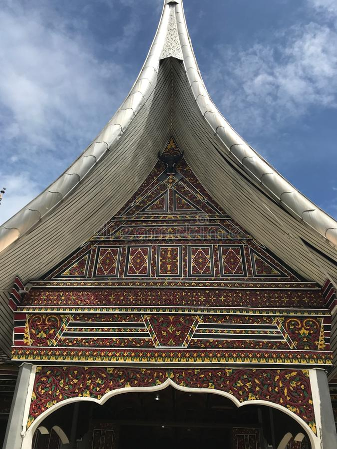 Padang Indonesia Minangkabau Architectural Details. Traditional Minangkabau architecture details with spires and intricate details located in the city of Padang royalty free stock images