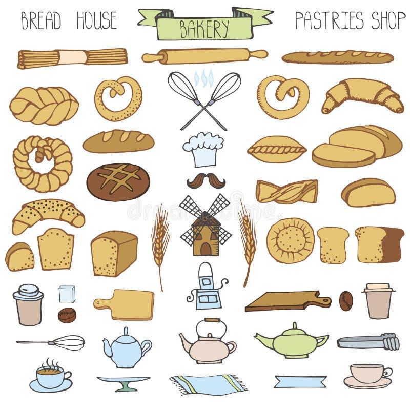 Padaria da garatuja, ícones do pão ajustados Vintage colorido ilustração stock