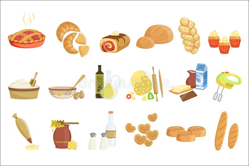 A padaria e os ícones dos artigos de pastelaria ajustados com vários tipos de pão, de bolos doces, de queques, de massa e de bolo ilustração royalty free