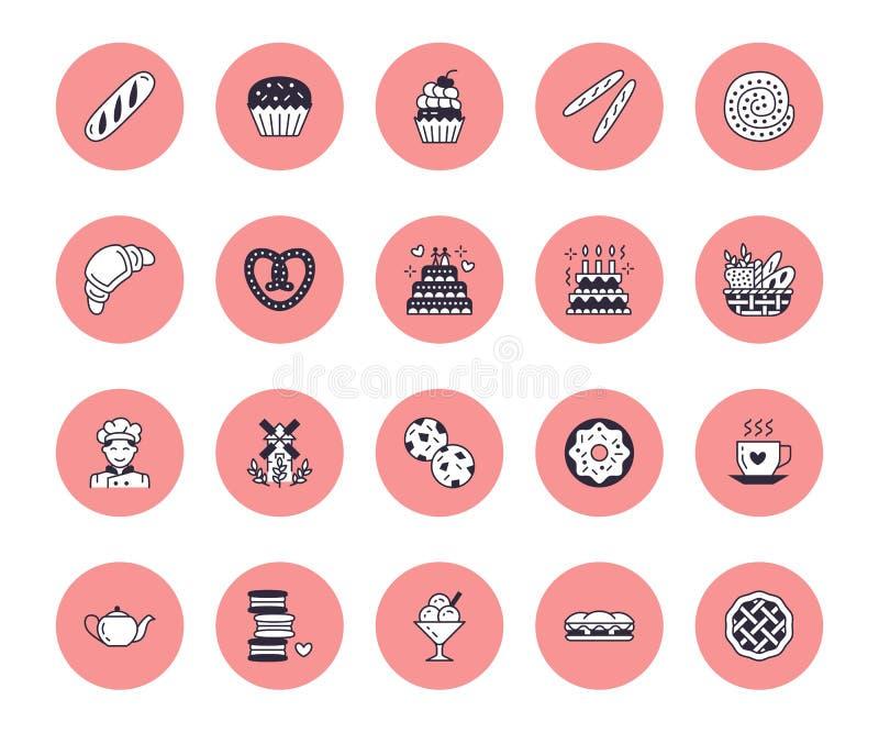 Padaria, linha lisa ícones do vetor dos confeitos Bens doces da loja - bolo, croissant, queque, baguette, padeiro, sanduíche ilustração do vetor
