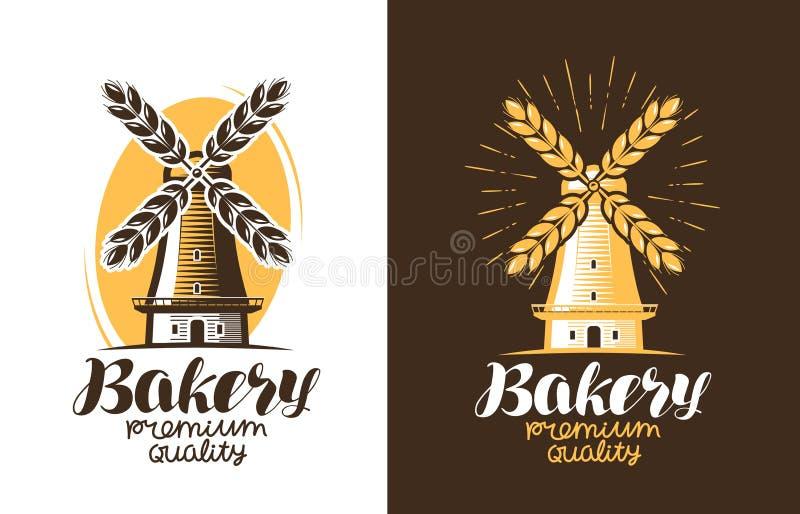 Padaria, logotipo do pão ou etiqueta Exploração agrícola, agricultura, moinho de vento, ícone do moinho Ilustração do vetor do vi ilustração do vetor