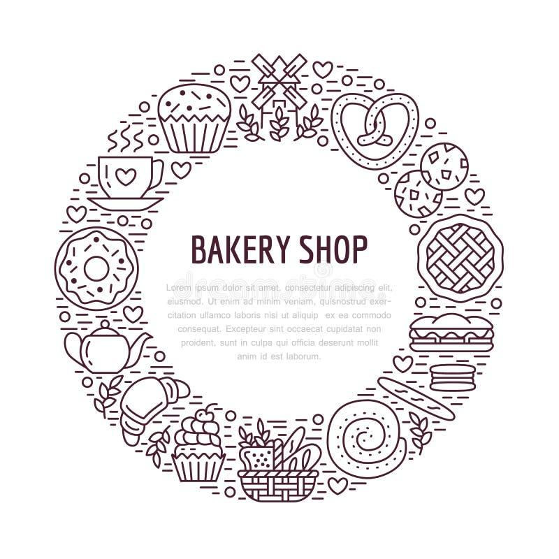 Padaria, molde do cartaz dos confeitos Vector a linha ícones do alimento, ilustração dos doces, croissant do pretzel, queque, pas ilustração do vetor