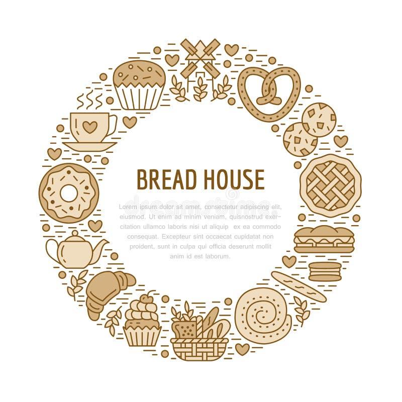 Padaria, molde do cartaz dos confeitos Vector a linha ícones do alimento, ilustração dos doces, pretzel, croissant, queque ilustração do vetor