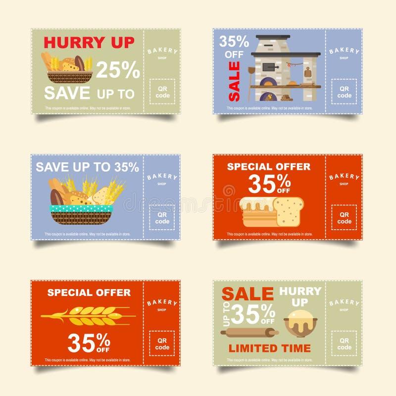 Padaria, padaria, pão, cartões do disconto Bilhete em linha da venda Bandeira para redes sociais ilustração royalty free