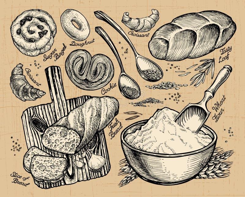 Padaria, pão esboços desenhados à mão do alimento Ilustração do vetor ilustração stock