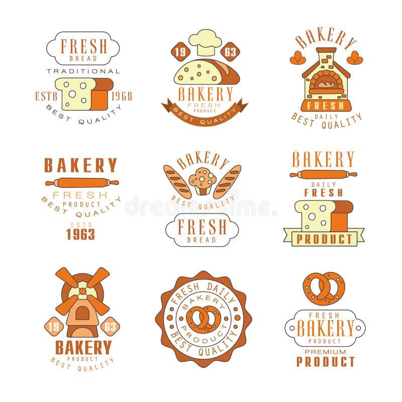 Padaria, projeto do logotipo do pão fresco, loja da padaria do vintage, ilustrações do vetor do emblema de empresa ilustração do vetor