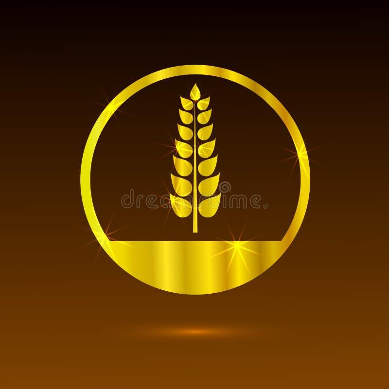 Padaria vazia Logo Shining Golden Template do vetor, projeto da etiqueta ilustração stock