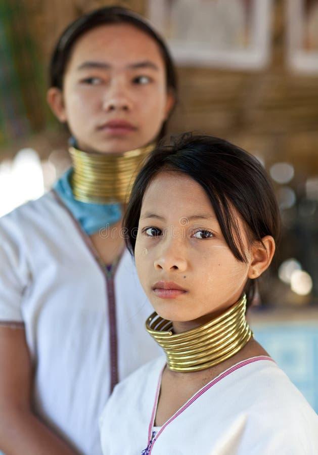Padaung部落女孩纵向  免版税库存图片