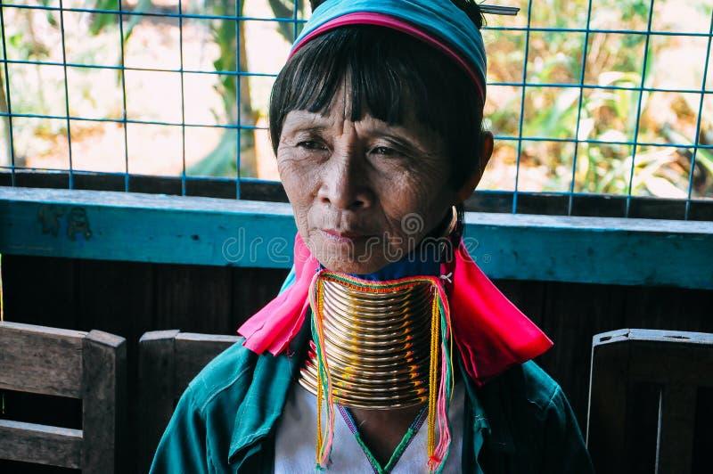 Padaung Tribe long neck lady of Inle Lake. royalty free stock image