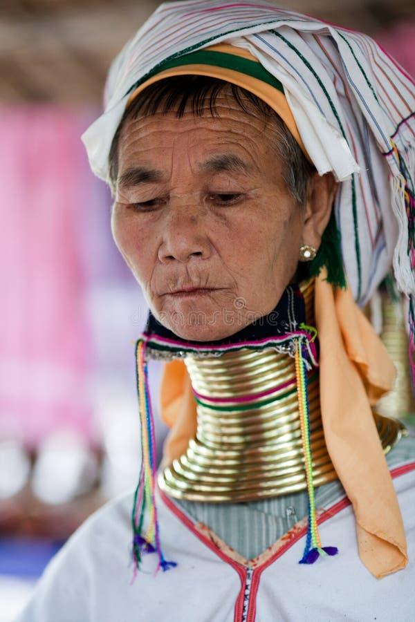 Padaung trival妇女,缅甸 免版税库存图片