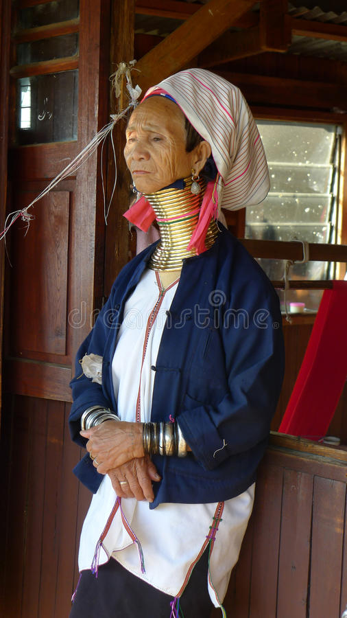 Padaung woman from Kayar,Myanmar. Old woman with bands on the neck, in the province of Kayar, Burma(Myanmar) Used for news and articles about the local tribe in royalty free stock photography
