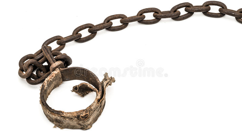Padded shackles foot cuff, or neck cuff. Rusty padded shackles used for locking up prisoners or slaves between 1600 and 1800 stock images