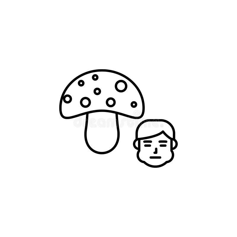 Paddestoel, allergisch pictogram Element van problemen met allergieënpictogram Dun lijnpictogram voor websiteontwerp en ontwikkel royalty-vrije illustratie