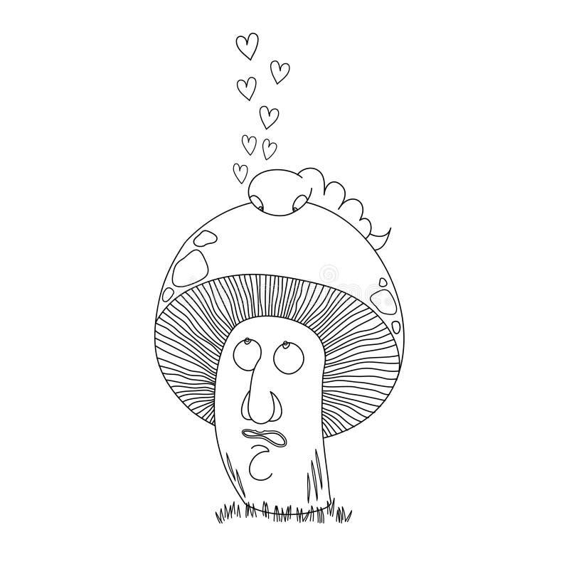 Paddestoel en worm in liefde vector illustratie