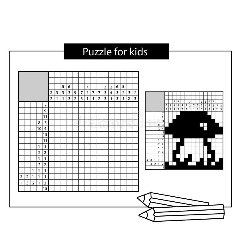 paddestoel Zwart-wit Japans kruiswoordraadsel met antwoord stock illustratie